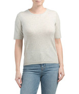 NWT Jones&Co Crew Neck 100% 2-ply Cashmere Short Sleeve Gray Sweater sz ... - $89.99