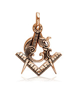 Large Masonic Charm in 18k Pink Gold - $1,155.00