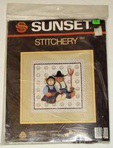Vintage 1985 Sunset Stitchery #2623 American Gothic Bears Kit NIP - $14.99