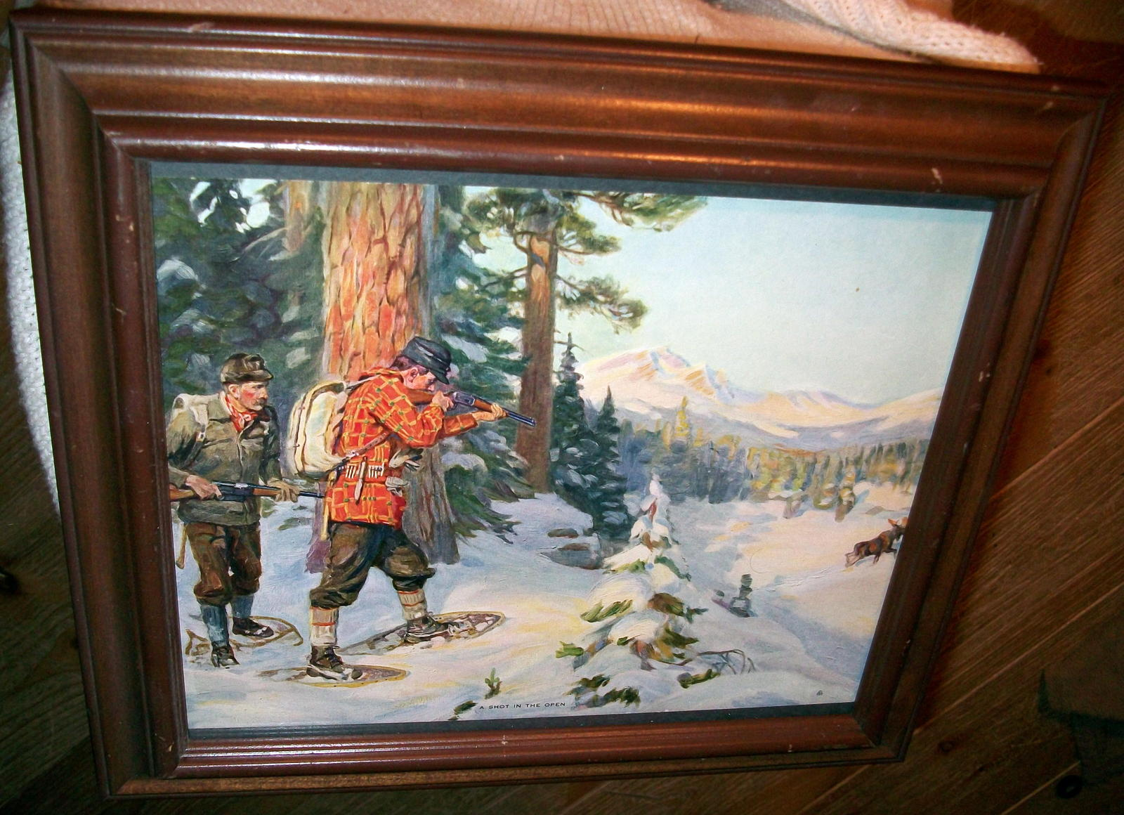 Philip Goodwin A Shot In Open Vntg Maple Framed Lithograph Print HuntersMoose