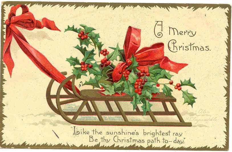 A Merry Christmas EllenClapsaddle Vintage Post Card