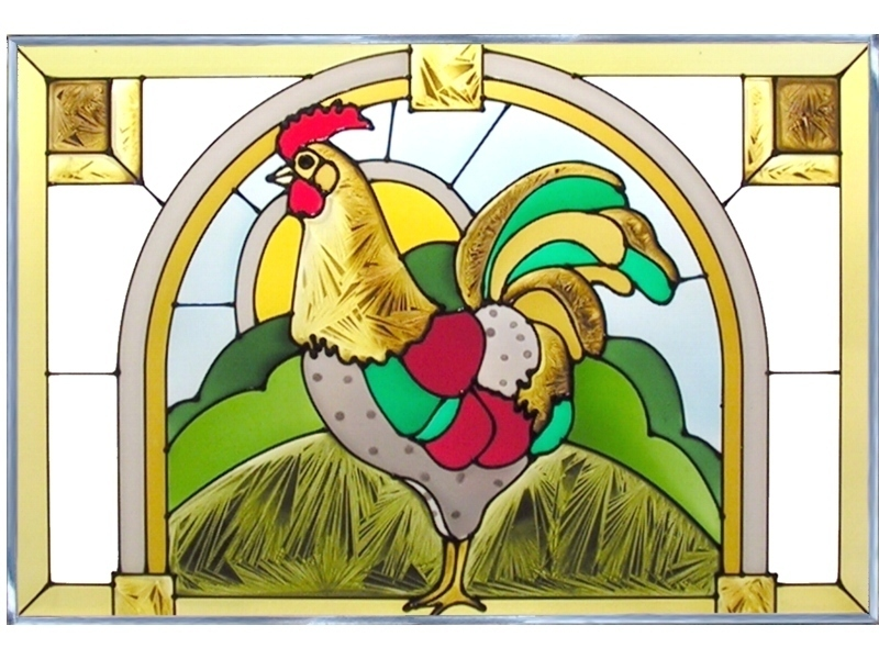 20x14 Stained Art Glass ROOSTER Chicken Suncatcher Panel