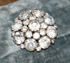 VINTAGE CLEAR PRONG SET RHINESTONE SILVER TONE METAL HEAVY MID CENTURY 1... - $49.99