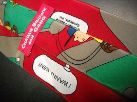Peanuts Charlie Brown and Gang Neck Tie I Wanna Win Baseball Red Green Ballfield image 4