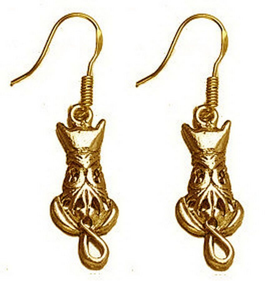 COOL Celtic Cat Kitten Earrings 24kt gold plated over sterling silver Jewelry - $37.99