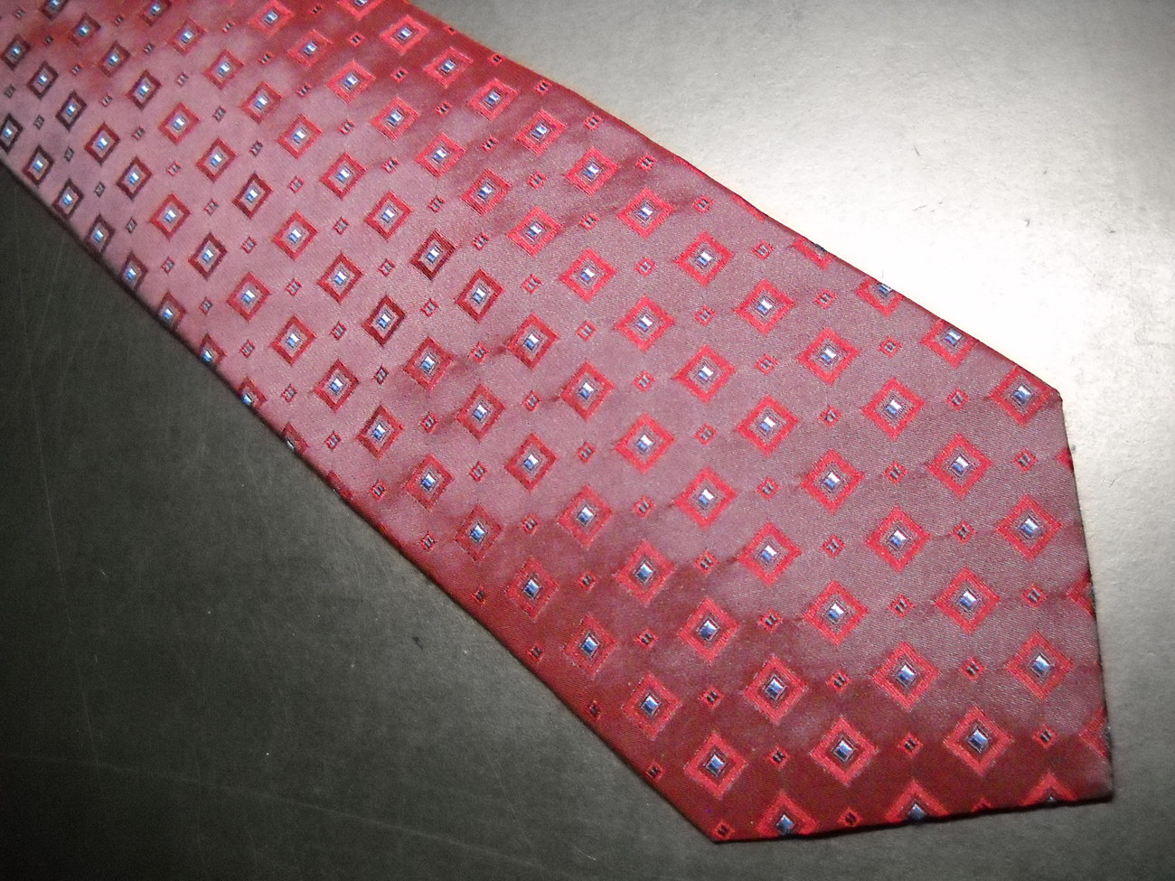 Valerio Garati Neck Tie Silk Hand Made Bright Reds Maroons and Blues image 2