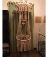 Vintage Macrame 70s Hanging Plant Holder Table - $226.71