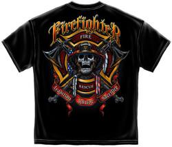 New FIREFIGHTER FIREMAN  BIKER AXES T SHIRT  Skull Licensed SHIRT  - £14.39 GBP+