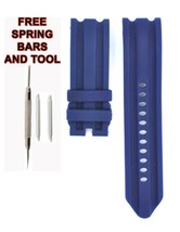 Compatible Nautica N15578G 24mm Blue Diver Rubber Watch Strap NTC116 - $22.77