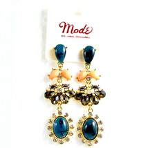 "Mode Blue Lucite Bead 2.5"" Drop Post Dangle Earrings New with Tag image 1"
