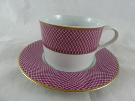 Block Spal Portugal Sunset Cup & Saucer 1980 White Raspberry Gold - $8.16