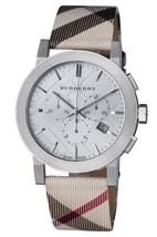 New Burberry Nova Check Silver Chronograph BU9357 Leather Wrist Watch - $199.00