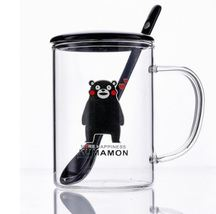 Happiness Kumamon Transparent Glass Cold Drink Coffee Milk Tea Cup + Cov... - $33.93