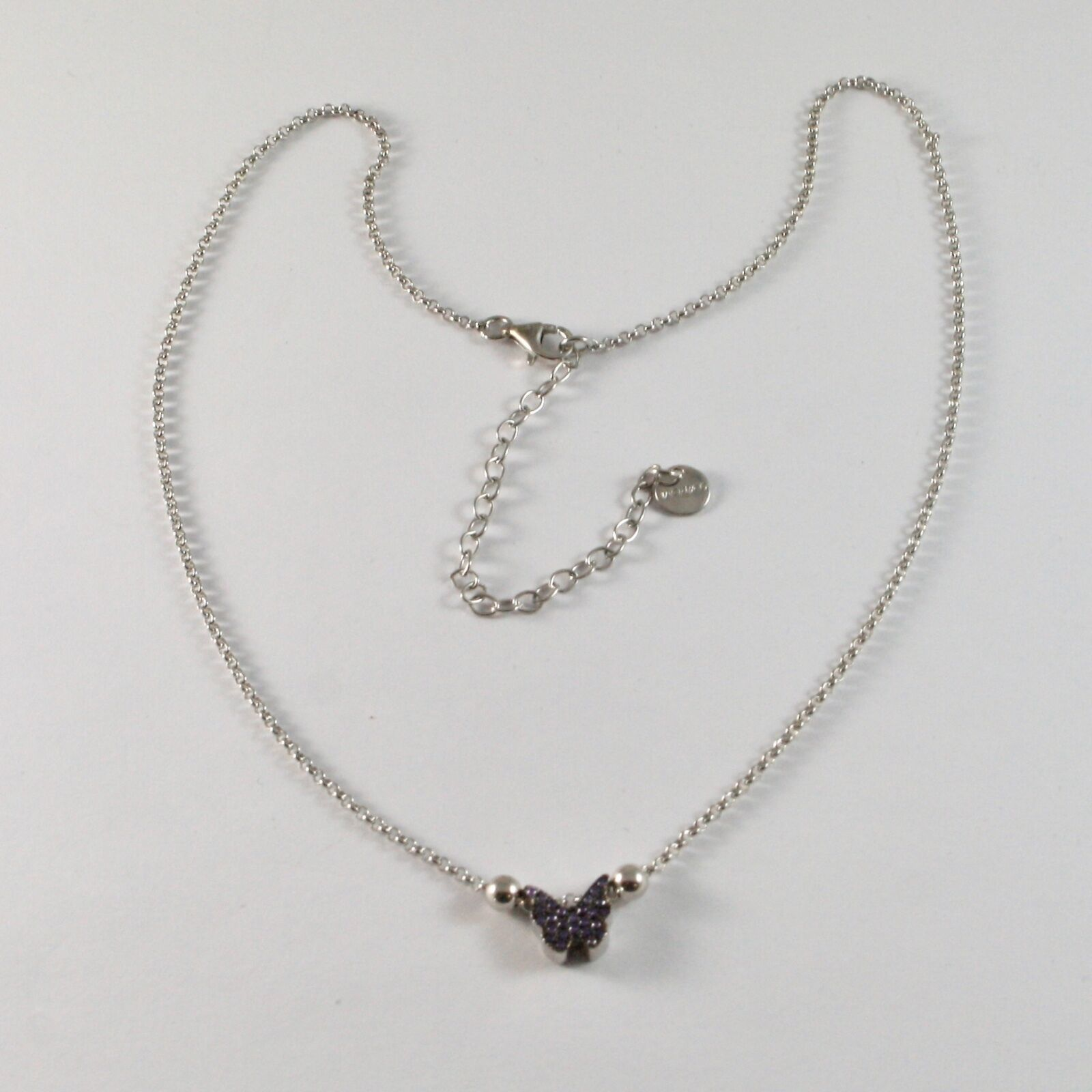 Silver Necklace 925 Jack&co with Butterfly with Zircon Cubic Purple JCN0607