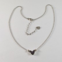 Silver Necklace 925 Jack&co with Butterfly with Zircon Cubic Purple JCN0607 image 1