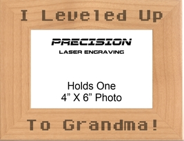Leveled Up to Grandma Engraved Picture Frame - Mothers Day, Grandma Gift... - $23.99+