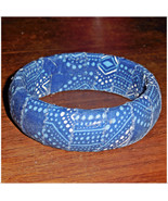 Blue Dot Fabric Wood Bangle, Medium Blue Wooden Bangle, Lagoon Blue Dot ... - $9.99
