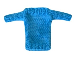 Barbie Doll Clothes Knit Teal Blue Boatneck Sweater Handmade - $6.49