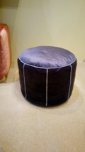 Moroccan pouf ottoman velvet and leather cover