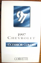 1997 Chevrolet Corvette Color & Trim Paint Chip Brochure- Xlnt Original - $4.74
