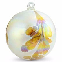 "4"" European Art Glass Crested Plume Gold & Pearlized White Witch Ball Kugel - $24.20"
