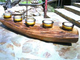 Nature wood candle holder with FIVE amber glass tea light votives candle... - $114.98