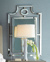 """Neiman Horchow Pagoda Wall Mirror Chippendale Beveled Vanity ASIAN 46"""" Regency - $295.02"""