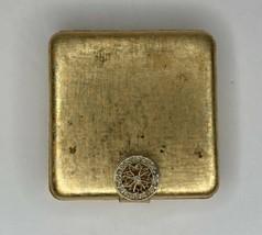 Vintage Avon Makeup Compact Mirror Powder Gold Tone Rhinestone Clasp Unused MCM - $12.82