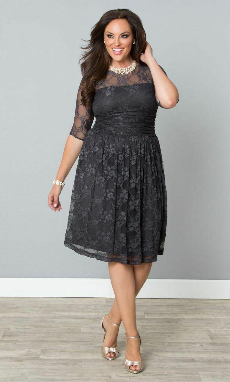 Kiyonna Vestito Donna 2X Grigio Pizzo Illusione Giogo Luna Stile Festa Made USA