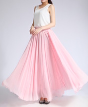 Pink MAXI CHIFFON SKIRT Women High Waisted Chiffon Maxi Skirt Plus Size image 2