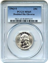 1943-S 25c PCGS MS65 (Doubled Die) Rare Variety - Washington Quarter - $1,732.50