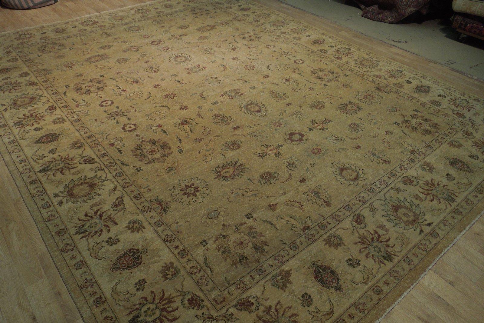 Honey Gold Wool Carpet 9' x 12' New Original Ziglar Oushak Hand-Knotted Rug image 11