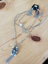 1098 Silver W/ Pearl & Gray Brads Brads Necklace Set (New) - $8.58