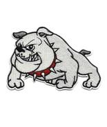 "BULLDOG IRON ON PATCH 3.5"" Cartoon Smiling Dog White Embroidered Appliqu... - $6.95"