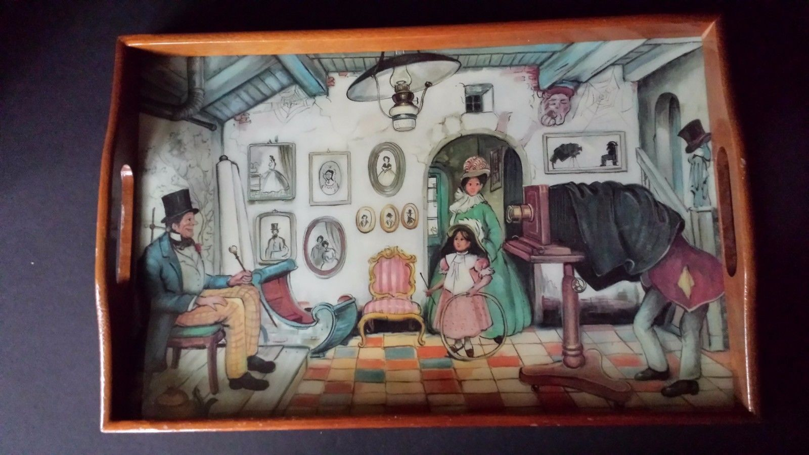 Primary image for Vintage Painted Wood Lap Tray Photographer Taking Picture Eerie Scene