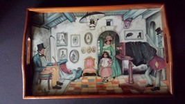 Vintage Painted Wood Lap Tray Photographer Taking Picture Eerie Scene - $39.84