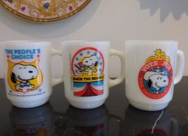 3 Fire King 1980 SNOOPY PRESIDENTS Mugs Collect... - $149.00