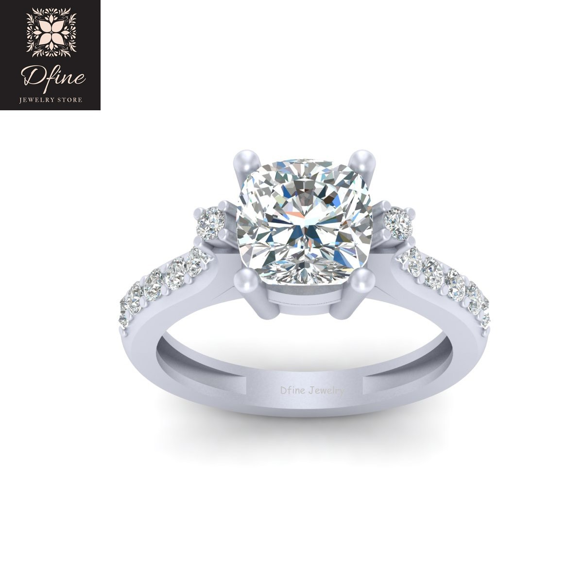 14 Year Wedding Anniversary Gift For Her: 2.65ct Cushion Cut Wedding Ring Womens Anniversary Gift