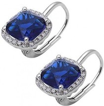 Halo Leverback Earrings Cushion Simulated Blue Sapphire Round Cubic Zir... - $47.95