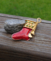 Red Enamel Christmas Stocking Brooch - $5.00