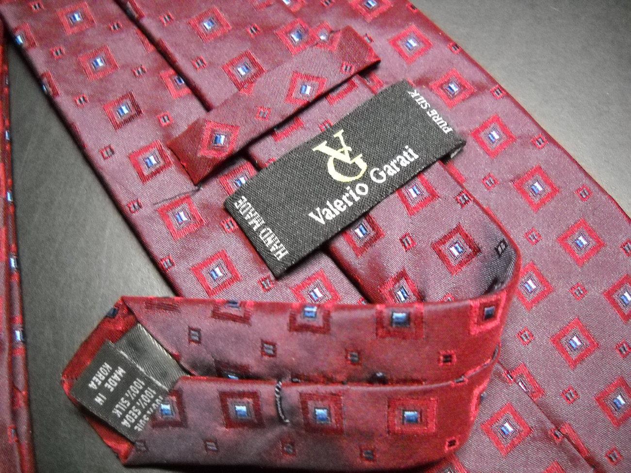 Valerio Garati Neck Tie Silk Hand Made Bright Reds Maroons and Blues image 6