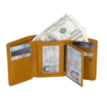 Mens Trifold Genuine Leather Wallet RFID Bloking Card Holder Wallet - $14.71