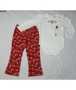 SONOMA White Onesie Red Flowered Pants SZ 24 Mo.  - $15.99