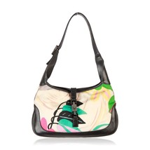 Authentic GUCCI Floral Canvas & Black Leather HOBO JACKIE O - $193.05