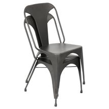 AUSTIN INDUSTRIAL URBAN DESIGN METAL KITCHEN & DINING CHAIRS SET OF 2 GREY - £150.69 GBP