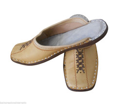 Men Slippers Indian Handmade Mojari Open Clogs Leather Flip-Flops Jutties US 7  - $34.99