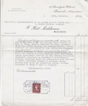 Robert Middlemas Solicitor Alnwick 1928 House Sale Charge Stamp Receipt ... - $7.55