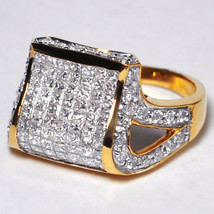 Custom Princess Diamond Dome Pinky Ring Womens 14K Yellow Gold 1.28 Carat - $999.00