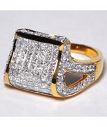 Custom Princess Diamond Dome Pinky Ring Womens 14K Yellow Gold 1.28 Carat - $999.00