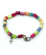 "Vintage Child's Bracelet Multi Color Tube Beads Sterling Silver Cross 5.5"" - $29.70"